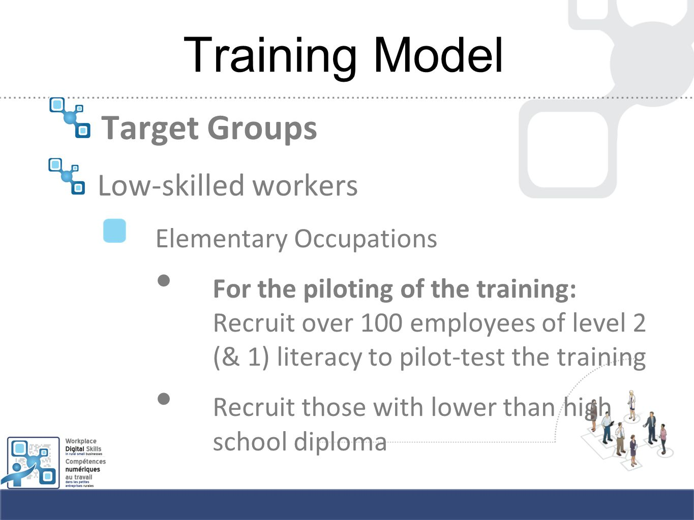 Training Model Target Groups Low-skilled workers Elementary Occupations For the piloting of the training: Recruit over 100 employees of level 2 (& 1) literacy to pilot-test the training Recruit those with lower than high school diploma