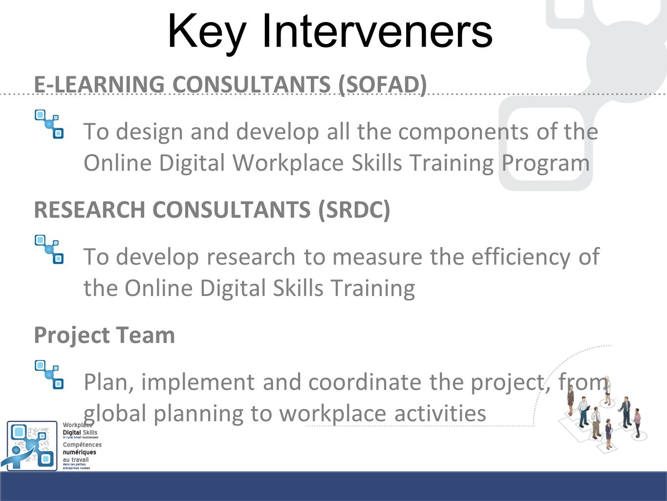 Key Interveners E-LEARNING CONSULTANTS (SOFAD) To design and develop all the components of the Online Digital Workplace Skills Training Program RESEARCH CONSULTANTS (SRDC) To develop research to measure the efficiency of the Online Digital Skills Training Project Team Plan, implement and coordinate the project, from global planning to workplace activities