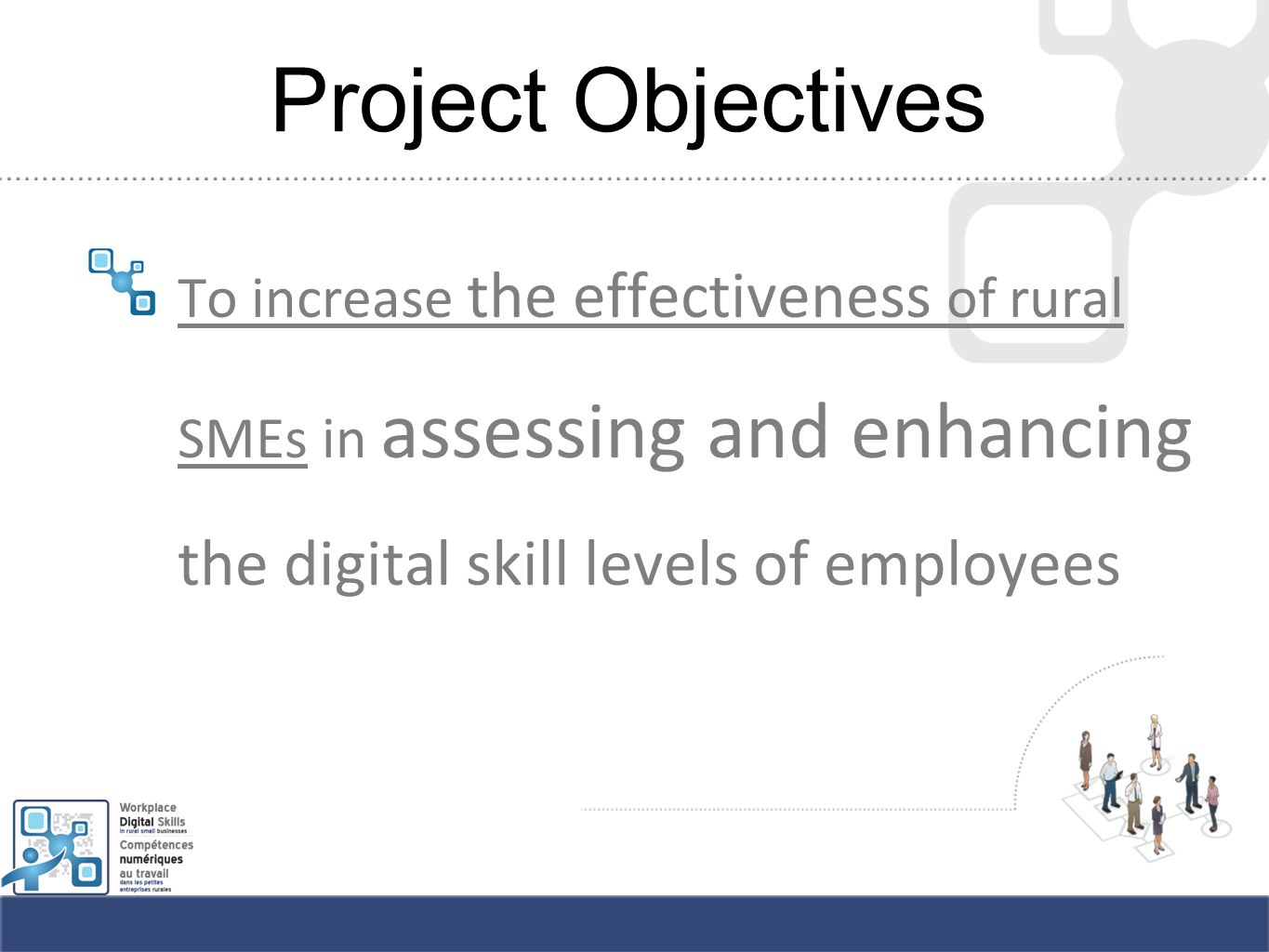 Project Objectives To increase the effectiveness of rural SMEs in assessing and enhancing the digital skill levels of employees
