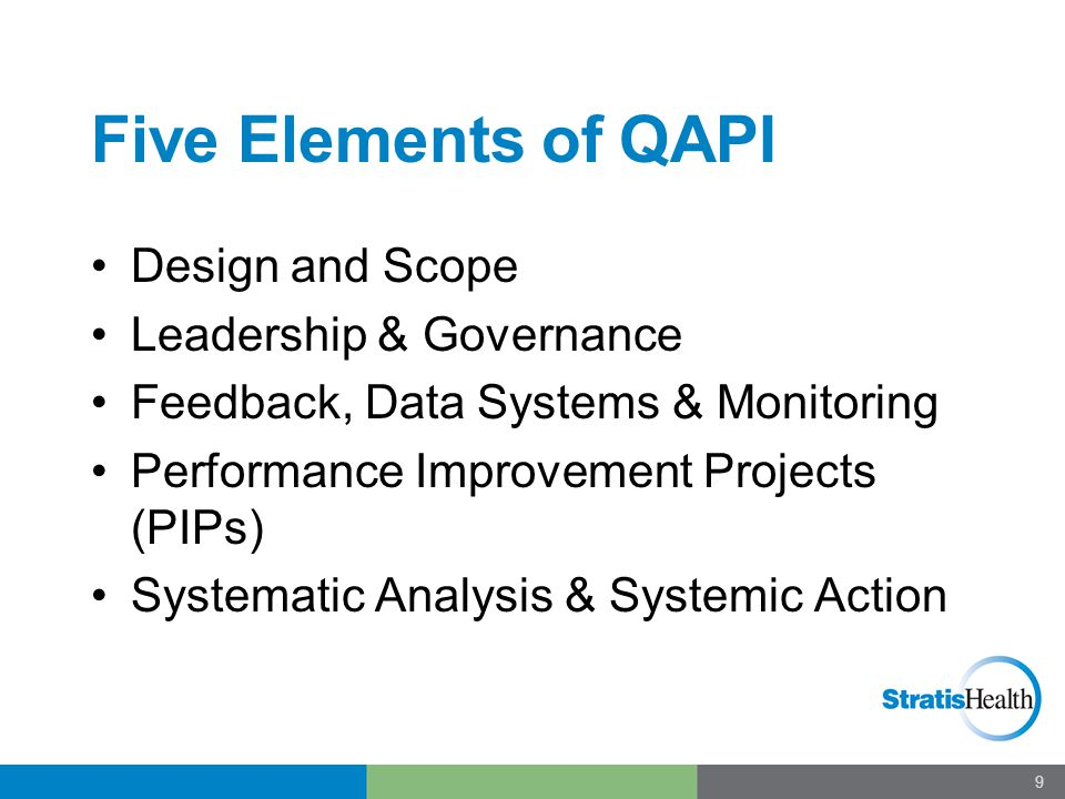 Five Elements of QAPI Design and Scope Leadership & Governance Feedback, Data Systems & Monitoring Performance Improvement Projects (PIPs) Systematic