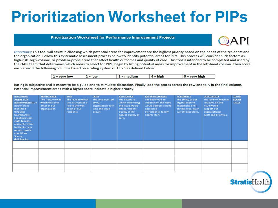 Prioritization Worksheet for PIPs