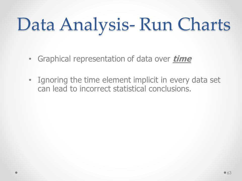63 Data Analysis- Run Charts Graphical representation of data over time Ignoring the time element implicit in every data set can lead to incorrect sta
