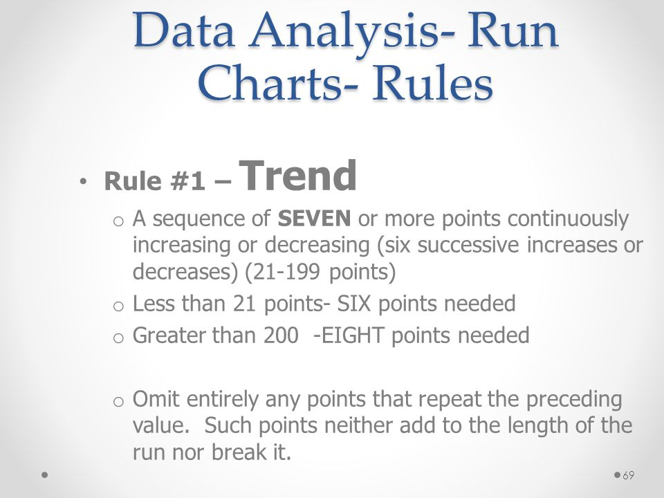 69 Data Analysis- Run Charts- Rules Rule #1 – Trend o A sequence of SEVEN or more points continuously increasing or decreasing (six successive increas