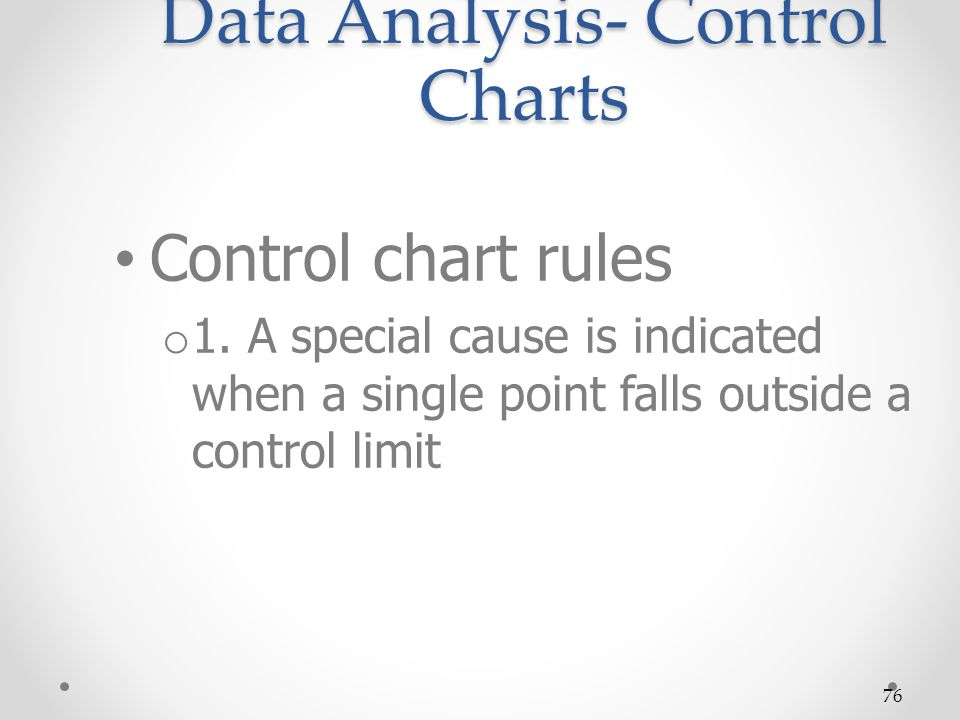 76 Data Analysis- Control Charts Control chart rules o 1. A special cause is indicated when a single point falls outside a control limit