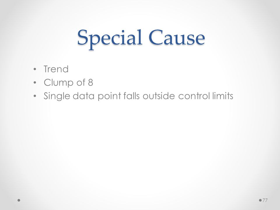 77 Special Cause Trend Clump of 8 Single data point falls outside control limits