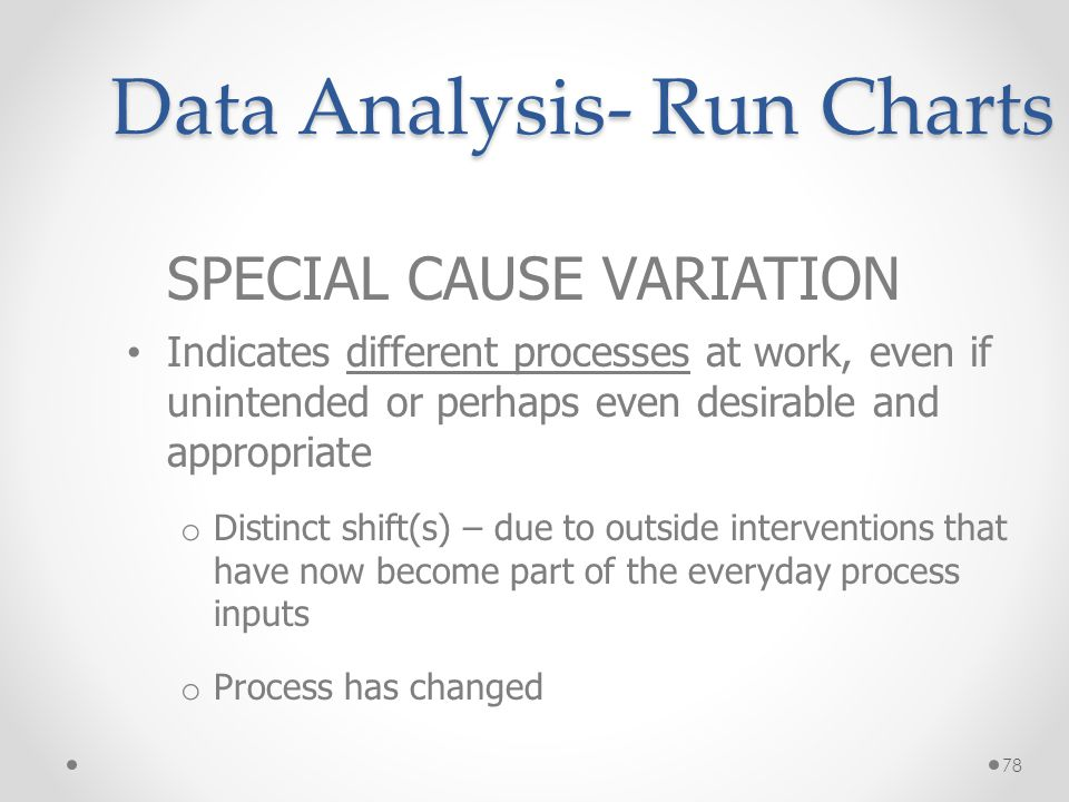 78 Data Analysis- Run Charts SPECIAL CAUSE VARIATION Indicates different processes at work, even if unintended or perhaps even desirable and appropria