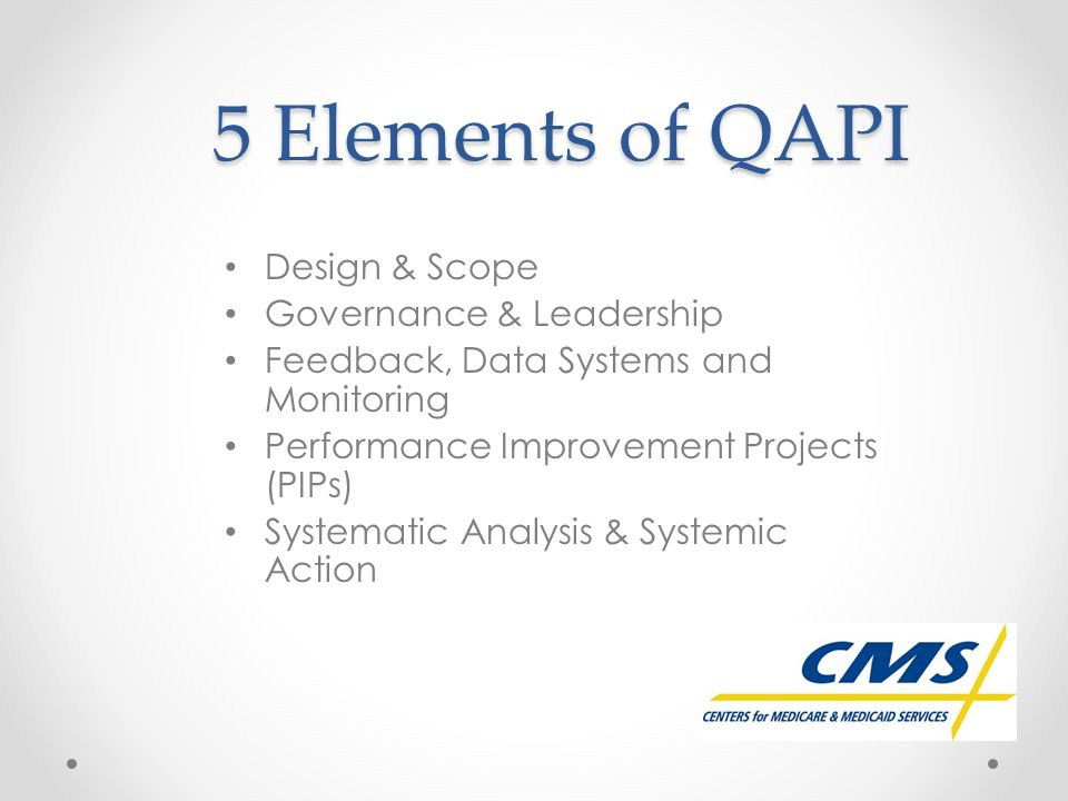 5 Elements of QAPI Design & Scope Governance & Leadership Feedback, Data Systems and Monitoring Performance Improvement Projects (PIPs) Systematic Ana
