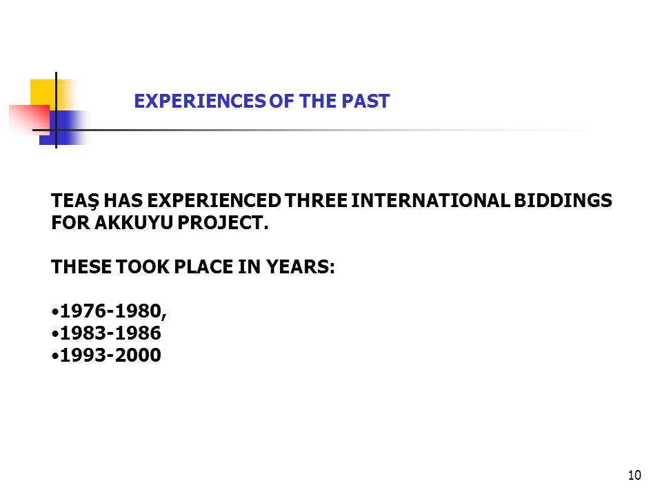 10 TEAŞ HAS EXPERIENCED THREE INTERNATIONAL BIDDINGS FOR AKKUYU PROJECT.
