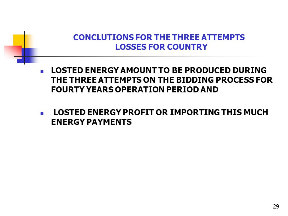 29 CONCLUTIONS FOR THE THREE ATTEMPTS LOSSES FOR COUNTRY LOSTED ENERGY AMOUNT TO BE PRODUCED DURING THE THREE ATTEMPTS ON THE BIDDING PROCESS FOR FOUR