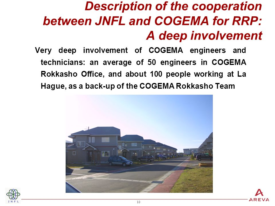10 Description of the cooperation between JNFL and COGEMA for RRP: A deep involvement Very deep involvement of COGEMA engineers and technicians: an average of 50 engineers in COGEMA Rokkasho Office, and about 100 people working at La Hague, as a back-up of the COGEMA Rokkasho Team