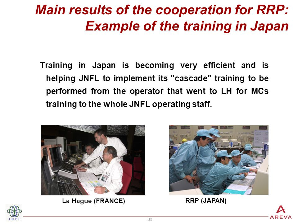 23 Training in Japan is becoming very efficient and is helping JNFL to implement its