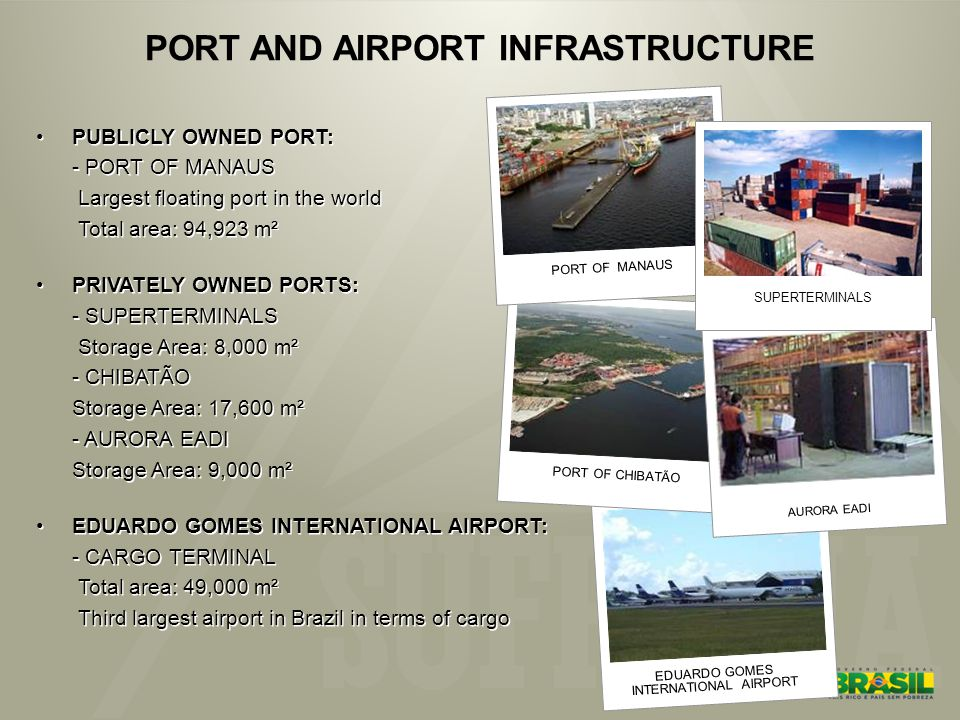 EDUARDO GOMES INTERNATIONAL AIRPORT PORT OF CHIBATÃO AURORA EADI PORT AND AIRPORT INFRASTRUCTURE PUBLICLY OWNED PORT: - PORT OF MANAUS Largest floating port in the world Total area: 94,923 m² PRIVATELY OWNED PORTS: - SUPERTERMINALS Storage Area: 8,000 m² - CHIBATÃO Storage Area: 17,600 m² - AURORA EADI Storage Area: 9,000 m² EDUARDO GOMES INTERNATIONAL AIRPORT: - CARGO TERMINAL Total area: 49,000 m² Third largest airport in Brazil in terms of cargo PUBLICLY OWNED PORT: - PORT OF MANAUS Largest floating port in the world Total area: 94,923 m² PRIVATELY OWNED PORTS: - SUPERTERMINALS Storage Area: 8,000 m² - CHIBATÃO Storage Area: 17,600 m² - AURORA EADI Storage Area: 9,000 m² EDUARDO GOMES INTERNATIONAL AIRPORT: - CARGO TERMINAL Total area: 49,000 m² Third largest airport in Brazil in terms of cargo PORT OF MANAUS SUPERTERMINALS