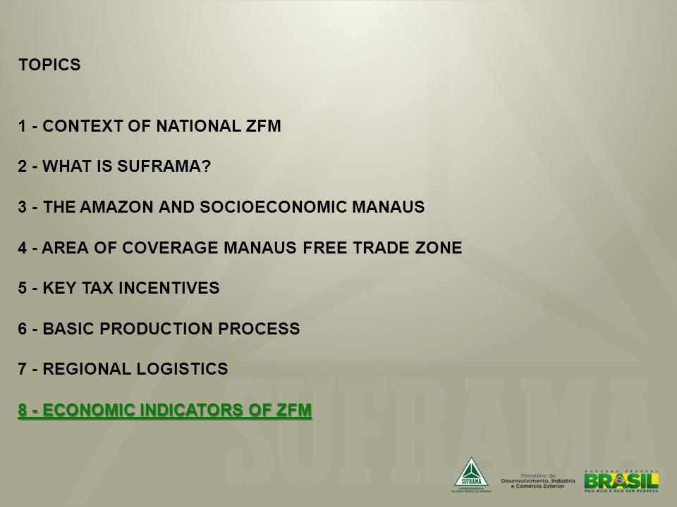 8 - ECONOMIC INDICATORS OF ZFM TOPICS 1 - CONTEXT OF NATIONAL ZFM 2 - WHAT IS SUFRAMA.