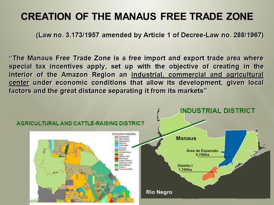 CREATION OF THE MANAUS FREE TRADE ZONE (Law no. 3.173/1957 amended by Article 1 of Decree-Law no.