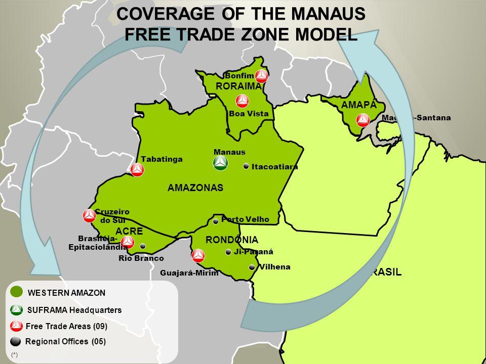 AMAPÁ Macapá-Santana Boa Vista RORAIMA AMAZONAS Manaus Itacoatiara Tabatinga Rio Branco Vilhena RONDÔNIA Guajará-Mirim ACRE Cruzeiro do Sul Porto Velho BRASIL Ji-Paraná Bonfim Brasiléia- Epitaciolândia COVERAGE OF THE MANAUS FREE TRADE ZONE MODEL Free Trade Areas (09) Regional Offices (05) SUFRAMA Headquarters WESTERN AMAZON (*)