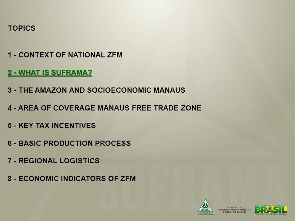 2 - WHAT IS SUFRAMA. TOPICS 1 - CONTEXT OF NATIONAL ZFM 2 - WHAT IS SUFRAMA.