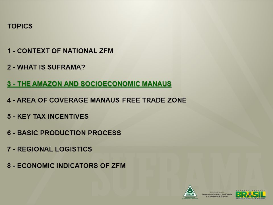3 - THE AMAZON AND SOCIOECONOMIC MANAUS TOPICS 1 - CONTEXT OF NATIONAL ZFM 2 - WHAT IS SUFRAMA.