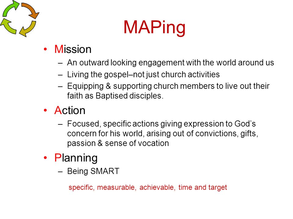 MAPing Mission –An outward looking engagement with the world around us –Living the gospel–not just church activities –Equipping & supporting church me