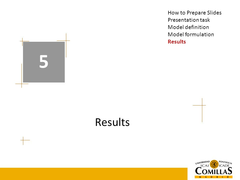 Results 5 How to Prepare Slides Presentation task Model definition Model formulation Results