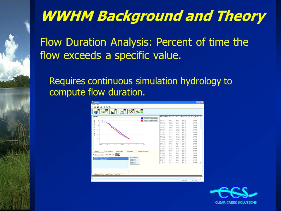 WWHM Background and Theory Flow Duration Analysis: Percent of time the flow exceeds a specific value.