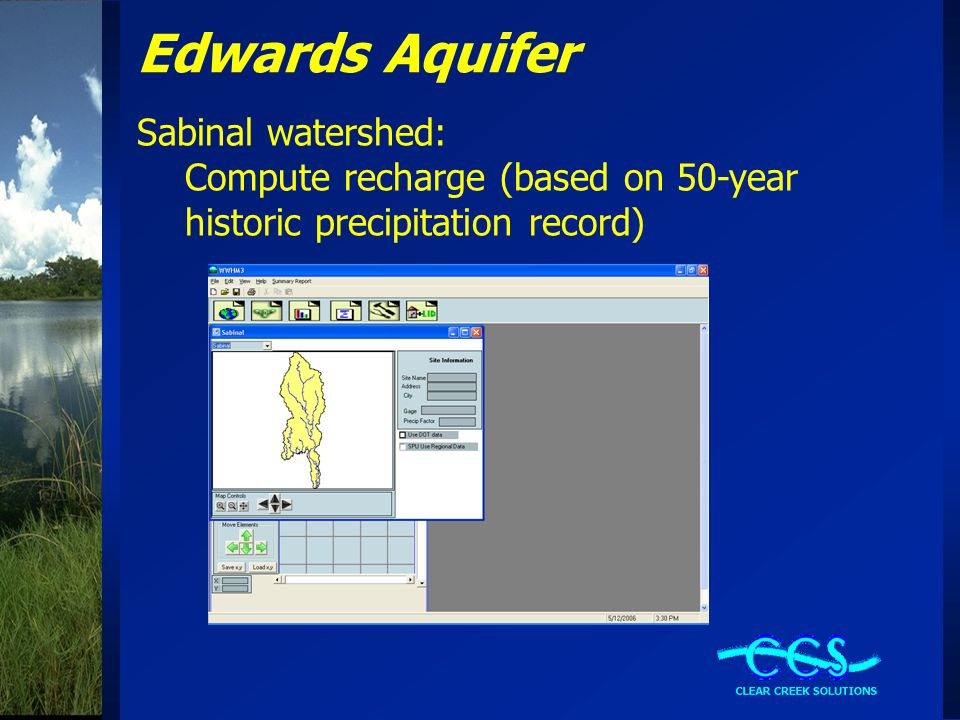 Edwards Aquifer Sabinal watershed: Compute recharge (based on 50-year historic precipitation record)