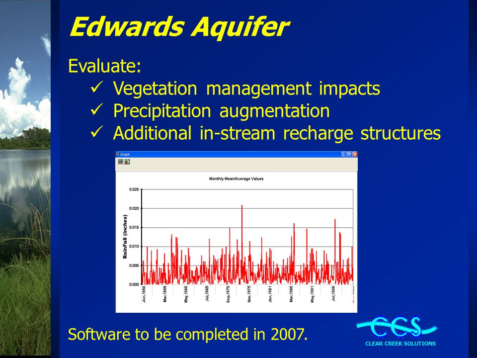 Edwards Aquifer Evaluate: Vegetation management impacts Precipitation augmentation Additional in-stream recharge structures Software to be completed in 2007.