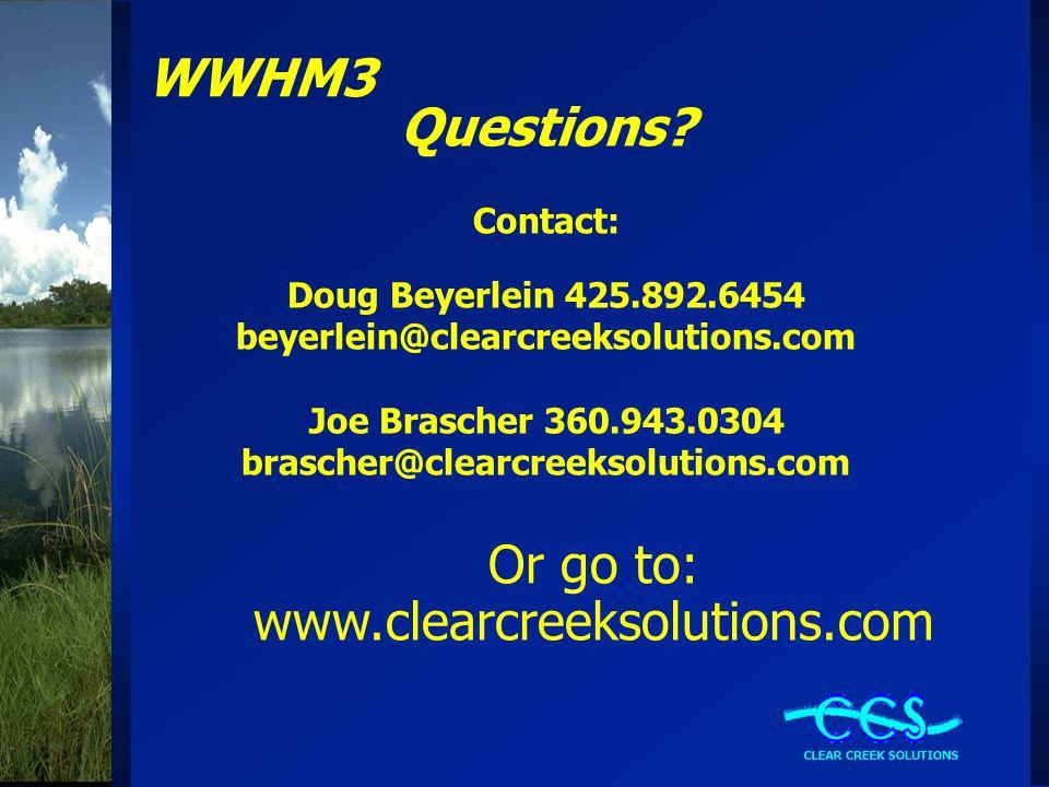 WWHM3 Questions.