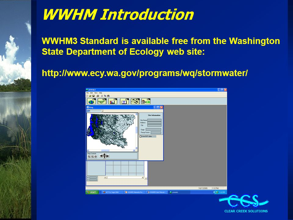 WWHM Introduction WWHM3 Standard is available free from the Washington State Department of Ecology web site: http://www.ecy.wa.gov/programs/wq/stormwater/