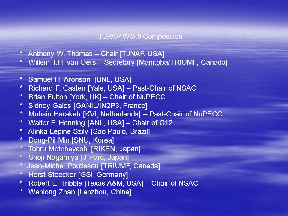 IUPAP WG.9 Composition * Anthony W. Thomas – Chair [TJNAF, USA] * Willem T.H. van Oers – Secretary [Manitoba/TRIUMF, Canada] * Samuel H. Aronson [BNL,