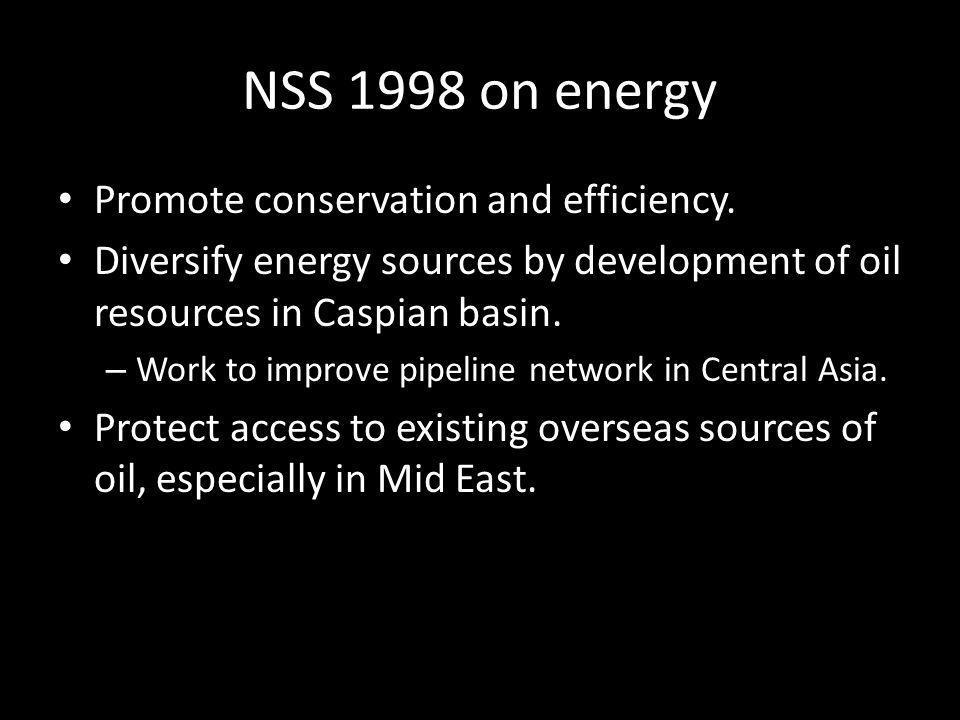 NSS 1998 on energy Promote conservation and efficiency.