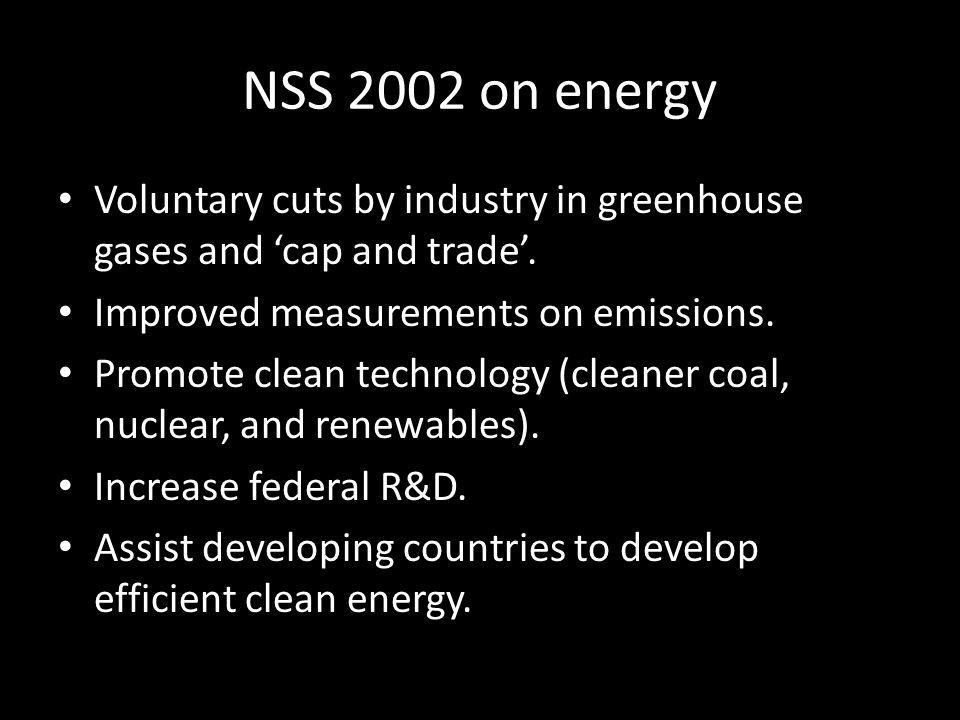 NSS 2002 on energy Voluntary cuts by industry in greenhouse gases and 'cap and trade'. Improved measurements on emissions. Promote clean technology (c