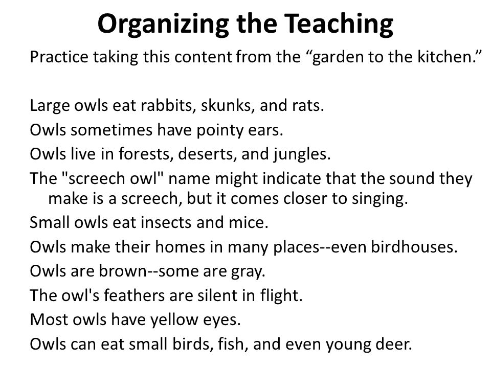 Organizing the Teaching Subject – Owls – What they look like Owls sometimes have pointy ears.
