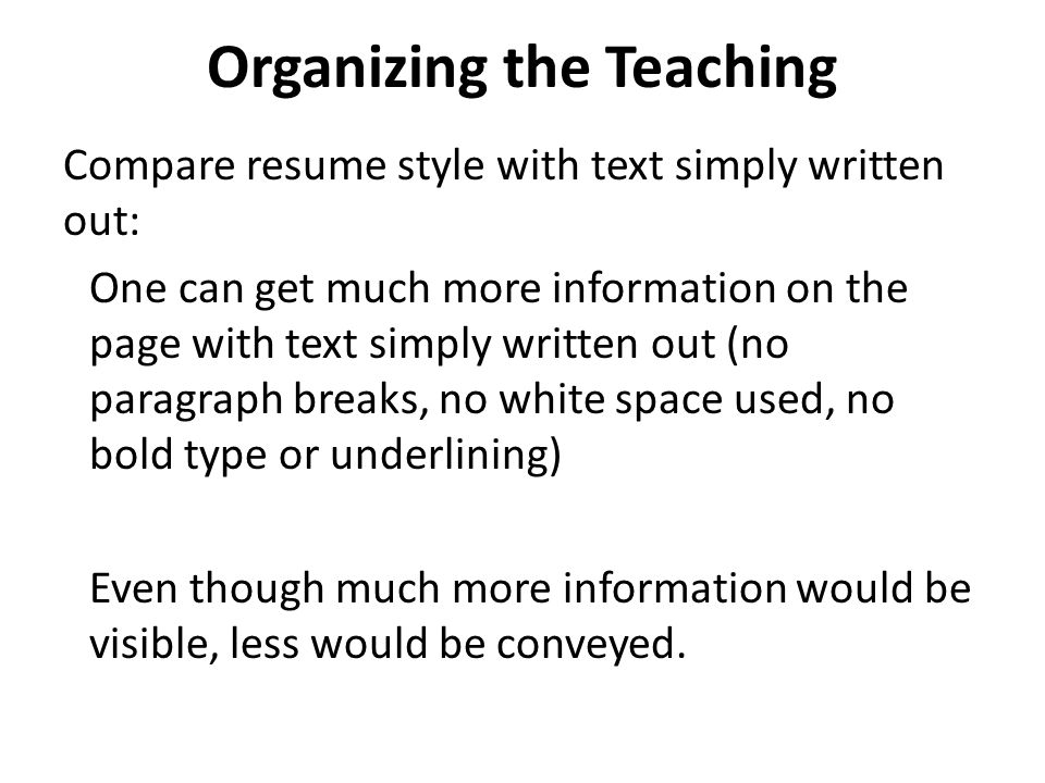 Organizing the Teaching
