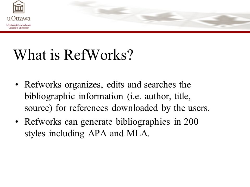 What is RefWorks. Refworks organizes, edits and searches the bibliographic information (i.e.