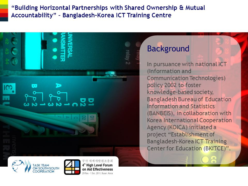 Background In pursuance with national ICT (Information and Communication Technologies) policy 2002 to foster knowledge-based society, Bangladesh Burea