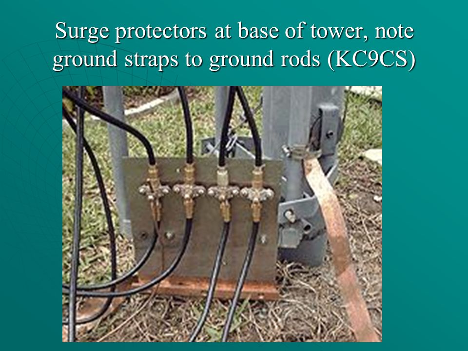 Surge protectors at base of tower, note ground straps to ground rods (KC9CS)