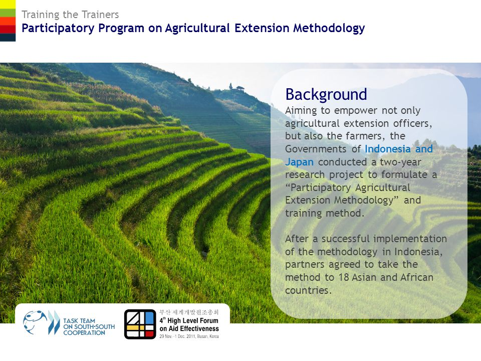 Training the Trainers Participatory Program on Agricultural Extension Methodology Objectives To enhance capabilities for agricultural extension at country levels.