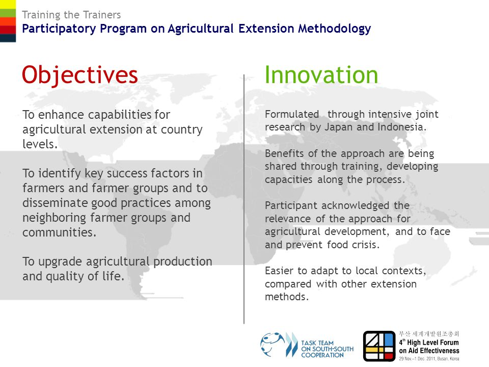 Training the Trainers Participatory Program on Agricultural Extension Methodology Results Around 70 experts from 18 Asia and Africa countries trained in Indonesia.