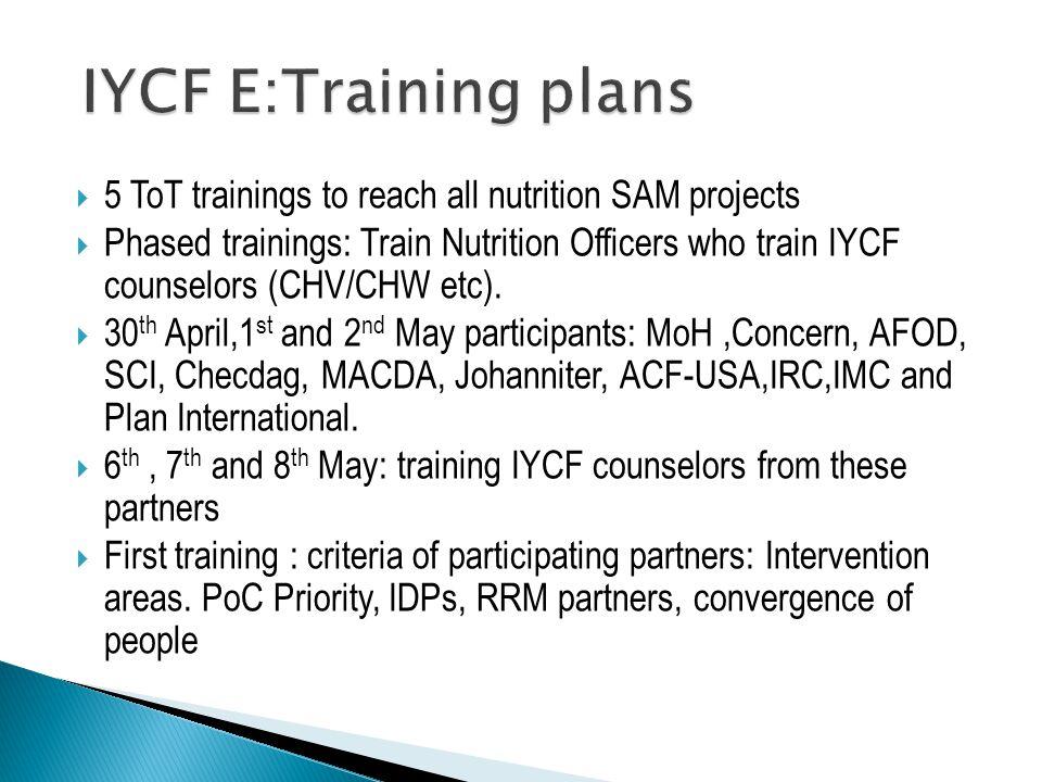  5 ToT trainings to reach all nutrition SAM projects  Phased trainings: Train Nutrition Officers who train IYCF counselors (CHV/CHW etc).  30 th Ap