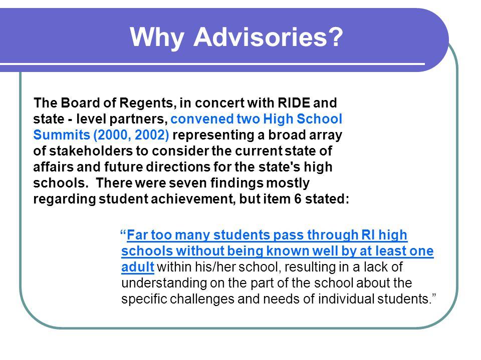 Advisory in Action No two advisory programs will look alike.
