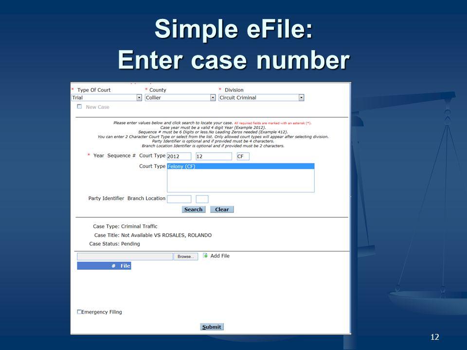 12 Simple eFile: Enter case number