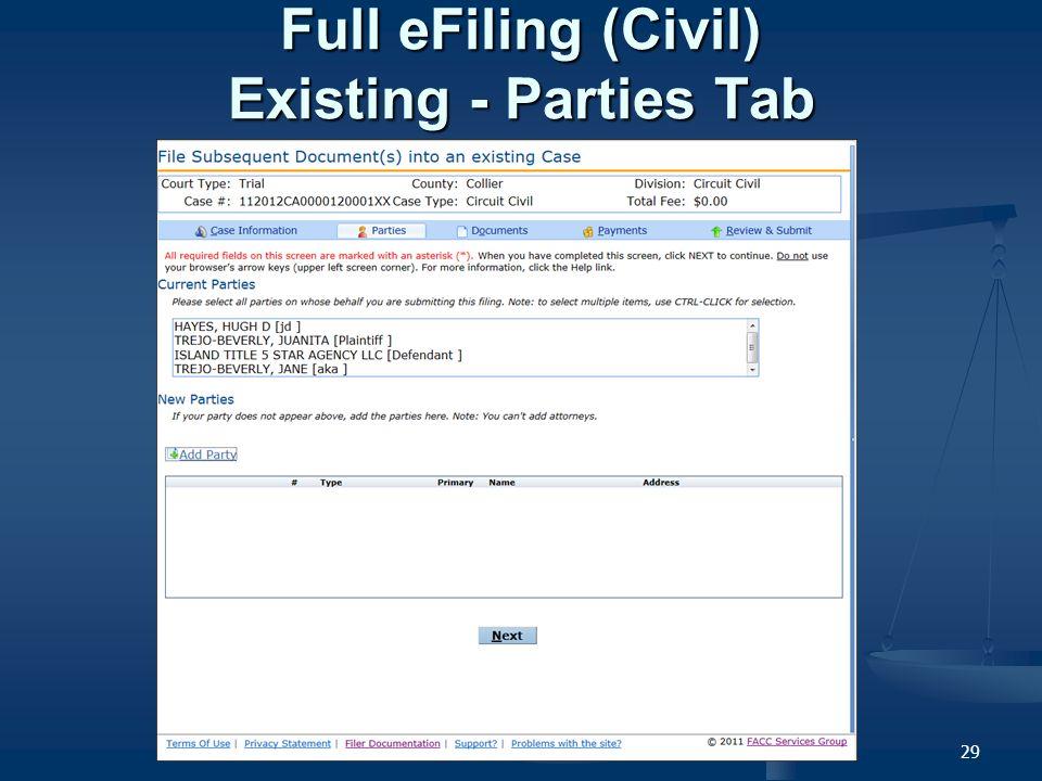 29 Full eFiling (Civil) Existing - Parties Tab