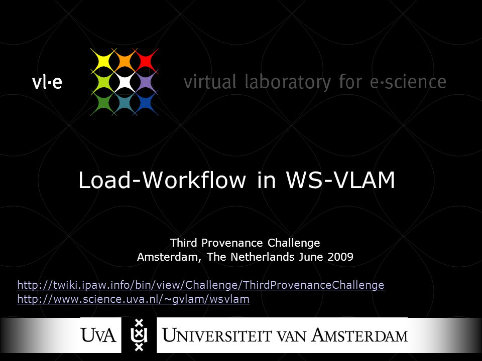 Load-Workflow in WS-VLAM Third Provenance Challenge Amsterdam, The Netherlands June 2009 http://twiki.ipaw.info/bin/view/Challenge/ThirdProvenanceChallenge http://www.science.uva.nl/~gvlam/wsvlam