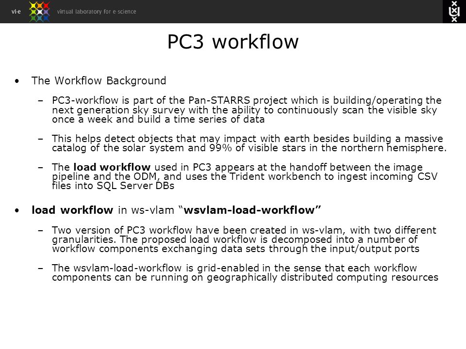 PC3 workflow The Workflow Background – PC3-workflow is part of the Pan-STARRS project which is building/operating thenext generation sky survey with t