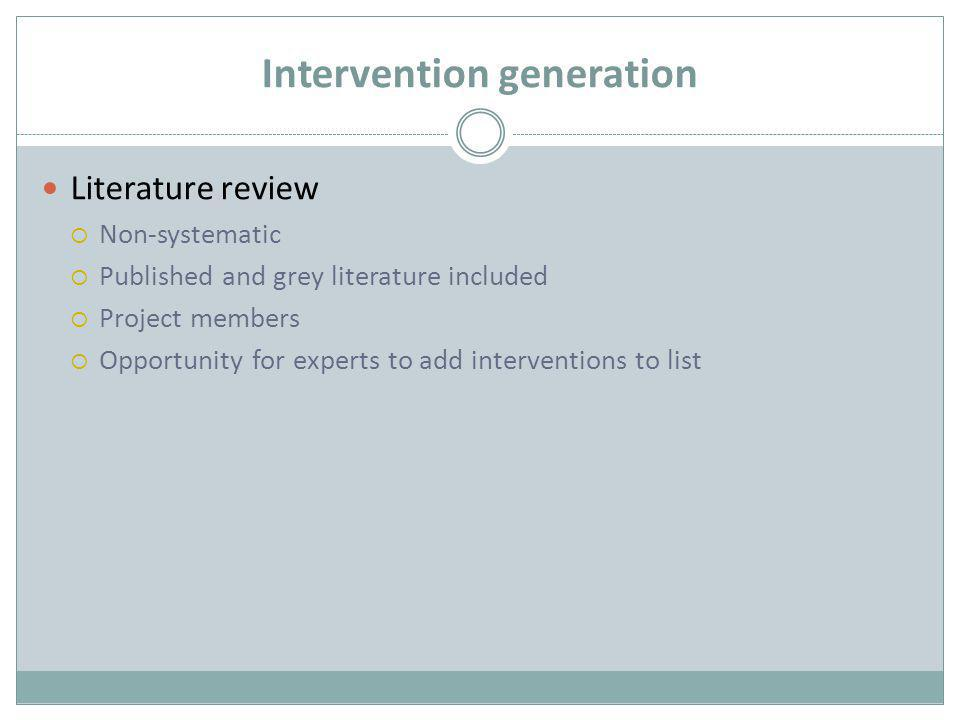 Intervention generation Literature review  Non-systematic  Published and grey literature included  Project members  Opportunity for experts to add interventions to list