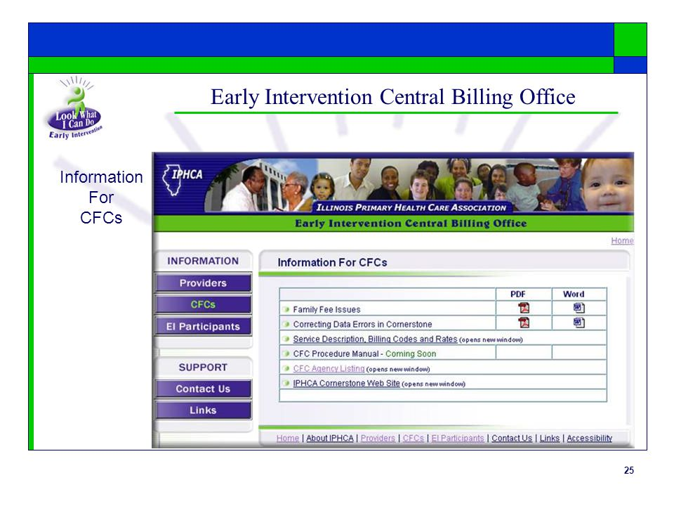 25 Early Intervention Central Billing Office Information For CFCs