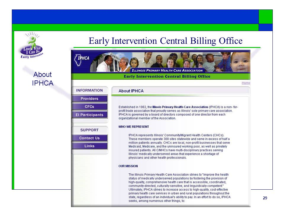29 Early Intervention Central Billing Office About IPHCA