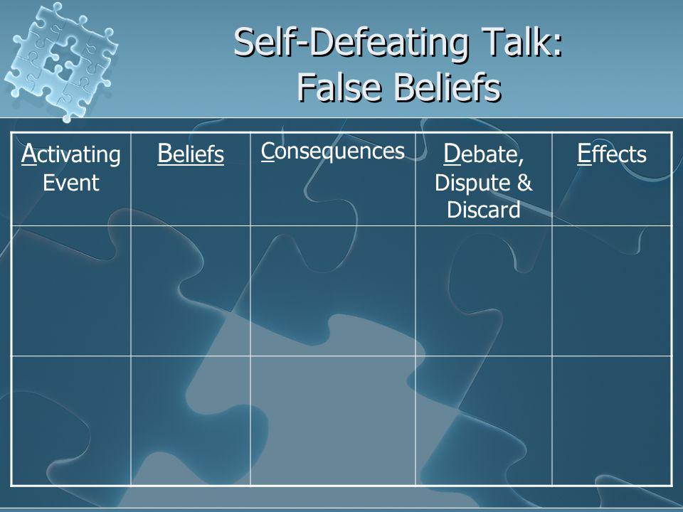 Self-Defeating Talk: False Beliefs A ctivating Event B eliefs Consequences D ebate, Dispute & Discard E ffects