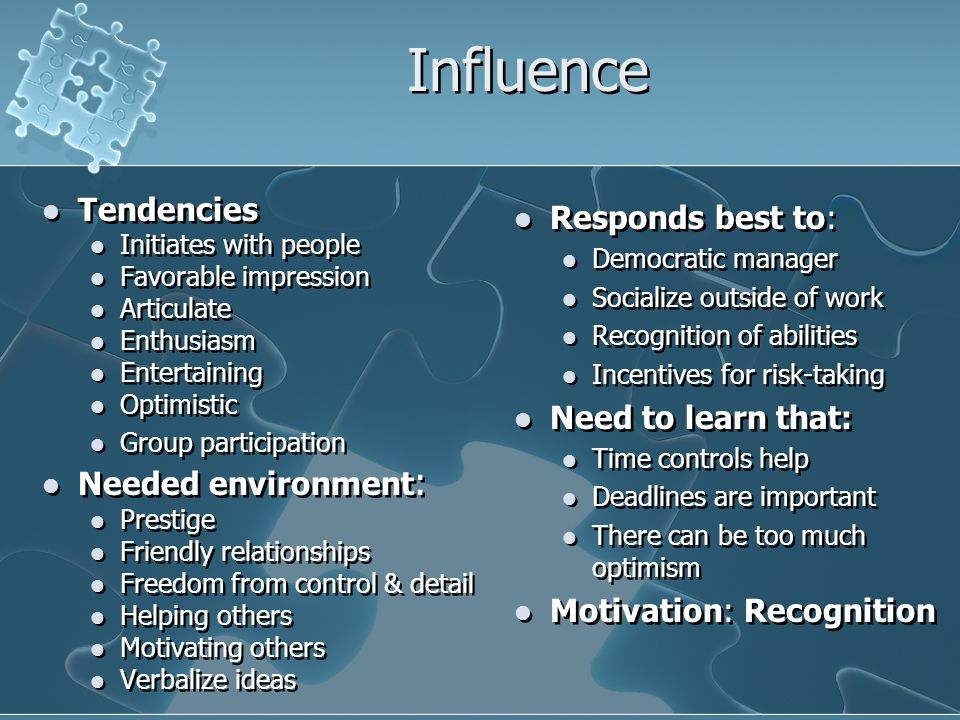 Influence Tendencies Initiates with people Favorable impression Articulate Enthusiasm Entertaining Optimistic Group participation Needed environment :