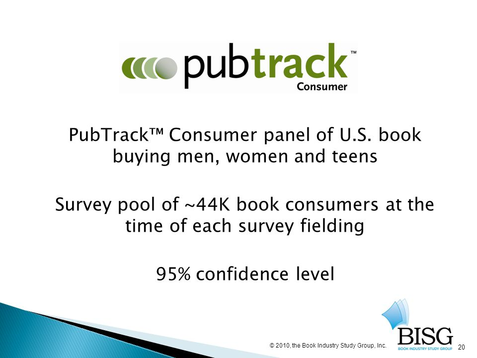 PubTrack™ Consumer panel of U.S. book buying men, women and teens Survey pool of ~44K book consumers at the time of each survey fielding 95% confidenc